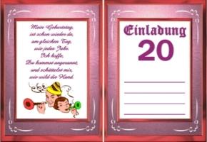 Perfekt Einladungskarten Geburtstag 20 Jahre Kostenlos, Einladungsentwurf