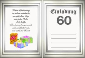 Einladungskarten Geburtstag 60 Jahre Kostenlos