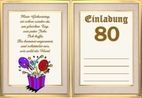 Einladungskarten Geburtstag 80 Jahre Kostenlos