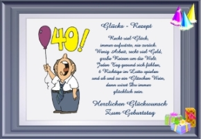 zum 40igsten geburtstag